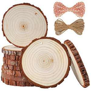 5ARTH Natural Wood Slices - 10 Pcs 3.5-4 inches Craft Unfinished Wood kit Predrilled with Hole Wooden Circles for Arts Wood Slices Christmas Ornaments DIY Crafts