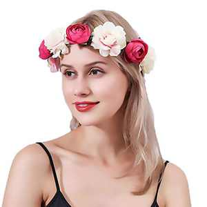 Urieo Flower Headband Rose Crown Hair Wreath Flowers Wedding Headpiece for Women and Girls (white+red)