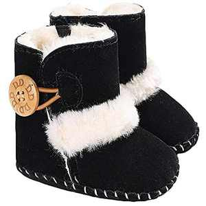 Toddler Boots,Baby Girls Boys Booties Non-Slip Warm Snow Boots Infant Winter Shoes Newborn Toddler Prewalker Shoes (12-18 Months Infant, Black)