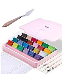 AOOK HIMI Gouache Paint Set Jelly Cup 24 Vibrant Colors Non Toxic Paints with Portable Case Palette for Artist Canvas Painting Watercolor Papers, Rich Pigment, (28 Pink 24+3+1)