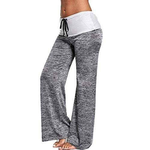 DKKK Contrast Color Pants for Women High Waist Tummy Stretch Workout Leggings Mesh Wide Leg Sweatpants Over Size Grey XXL