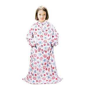 "Viviland Kids Wearable Blanket with Sleeves, Foot Pocket, Kangaroo Pocket, Children Boys Girls Throw Blanket, Soft, Warm, Lightweight Blanket for Kids, Flannel, Starfish, 55"" x 48"""