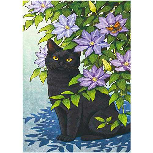 RICUVED DIY 5D Diamond Painting Kits Full Round Drill Paint by Number Black Cat Picture Embroidery Cross Stitch Arts Craft Wall Sticker Home Decoration 15.7x11.8 inch