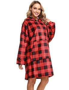 Sykooria Wearable Blanket Sweatshirt - Oversized Blanket Hoodie - Super Soft Comfy Hooded Blanket with Giant Pocket for Adult Women Man