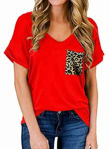 RULINJU Women's Short Sleeve T Shirts V-Neck Tunic Tops Loose Casual Tees Front Leopard Pocket (Small, B01_Red)