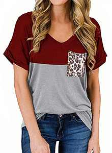 RULINJU Women's Short Sleeve T Shirts V-Neck Tunic Tops Loose Casual Tees Front Leopard Pocket (XX-Large, Red)