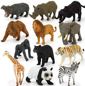 FlyCloud Animals Figures Toys 12 Piece, Wildlife Animals Action Figure Realistic Animals Action Model, Educational Learning Playset for Toddlers, Kids, Children, Kid's Gifts (Brown Wildlife Animals)