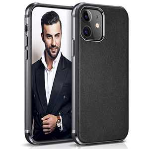 """LOHASIC Compatible with iPhone 12 Mini Leather Case, Slim Luxury PU Soft Flexible Bumper Non-Slip Grip Anti-Scratch Full Body Shockproof Protective Cover Cases for iPhone 12 Mini 5.4"""" (2020) - Black"""