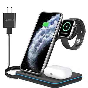 3 in 1 Wireless Charging Station for Apple iPhone Watch Airpods,Any warphone 15W Fast Wireless Charger for Apple iWatch 6/SE/5/4/3/2/1,AirPods 3/2/1, iPhone 11/12 Series/XS MAX/XR/XS/X/8/8 Plus