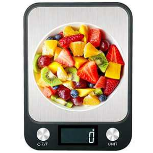 Digital Food Kitchen Scale, 7 Units LCD Display Scale 11lbs/5kg Precise Scale for Cooking and Baking, Stainless Steel, Easy Clean Black