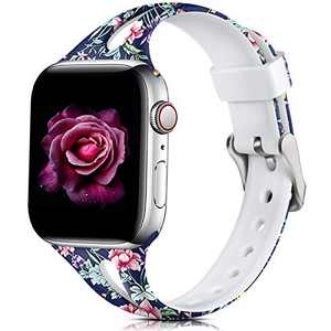 Easuny Floral Band Compatible for Apple Watch Series 6 44mm Series 5 4 for Women, Soft Cute for Apple Watch SE Wristband,iWatch 42mm Printed Silicone for Series 3 2/1 M/L, Peony