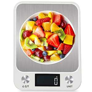AQwzh Digital Food Kitchen, Accurate Multifunction Scale in Grams and Ounces, Max 11lbs/5kg Cooking and Baking, Precision & Durability, Stainless Stee, 5kg, White