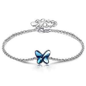 ANGEL NINA Gifts for Teenage Girls Mothers Day Sterling Silver Link Bracelet for Kids Butterfly Crystal Bracelet for Friend Ankle Bracelet for Daughter Adjustable Bracelet for Sister