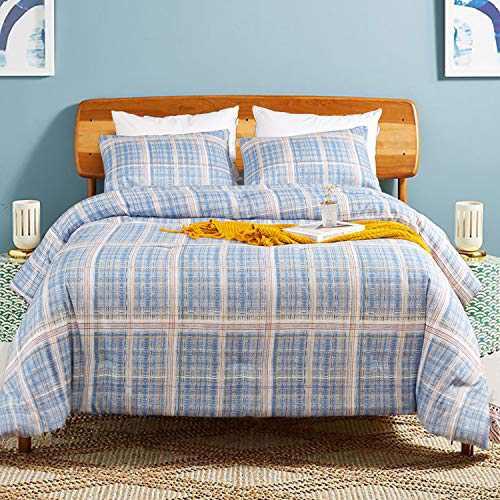 Luxlovery Blue Plaid Comforter Set Queen Grid Bedding Comforter Set Full Cotton Geometric Quilts Sky Blue Soft Breathable Lightweight Bedding Set for Women Men Teens Kids