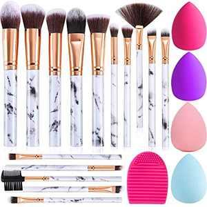 Makeup Brushes DUAIU 15PCs Marble Makeup Brush Set Premium Synthetic Kabuki Powder Blush Contour Foundation Concealer Eyeshadow Brushes with Makeup Sponge and Cleaner Brush Egg