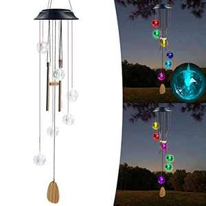 Gifts for Mom,Gifts for Grandma,Gifts for Women,Colors Changing Solar String Lights, Wind Chimes,Crystal Diamond Ornaments with Sound Mobile Decorations for Garden Outdoor Yard Porch Patio