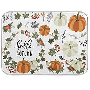 Dish Drying Mat for Kitchen Counter Absorbent Reversible Microfiber Sink Mats Mat Bathroom Counter Pads Dishes Rack Mat Large Autumn Pumpkins Leaves Wreath 18x24 inch