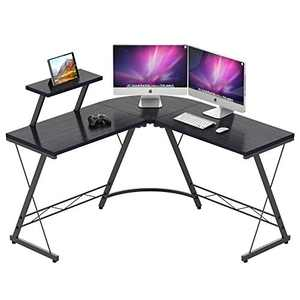 L Shaped Computer Desk, IDEALHOUSE Corner Home Office Desk, Space Saving Gaming Computer Desk PC Table Workstation with Large Monitor Stand, 50.59x50.59x29.33inch (Black)