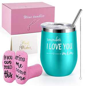Birthday Gifts for Friends Female, Wine Gifts for Women, Stainless Steel Insulated Wine Tumbler with Lid and Funny Socks