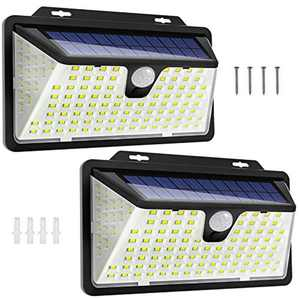 Solar Security Light,WOWDSGN 128 LED/3 Working Mode Motion Sensor Solar Wall Lights 270ºWide Angle Waterproof Solar Powered Durable Solar Lamps Outdoor for Patio, Garage, Yard,Pathway 2 Pack