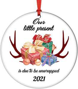 KUAYI Personalized Christmas Ceramic Ornament 2020, First Christmas Ornament Hanging Print Present for Family