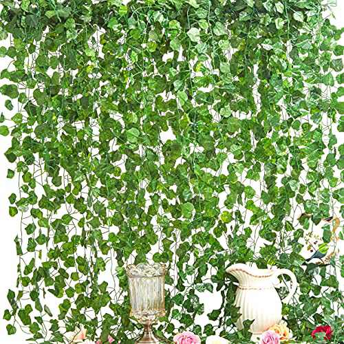 LA.PONEE 12 Strands Artificial Ivy Leaf Plants Vine Hanging Garland Fake Foliage Flowers Home Kitchen Garden Office Wedding Wall Decor(Green 2-84 Feet)