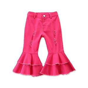 Specialcal Toddler Little Kid Girls Denim Jeans Bell Bottom Flare Pants Leggings Trousers (6-7Y, Double Layered Jeans Rose Red)