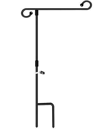 LOYOKI Garden Flag Stand Holder Pole Stakes with Clips for Outdoor Lawn Hold Decorative Flag Wind Clip (Without Flag