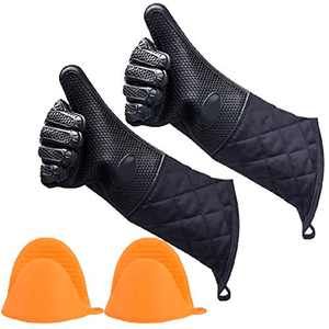 ANMAIKER Silicone Oven Gloves, Silicone Gloves Heat Resistant for Grilling, Baking, Cooking or Kitchen Use (2 Pairs)
