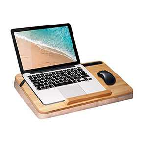 Bamboo Wood Lap Desk with Adjustable Pillow Cushion - wishacc Antique Laptop Book Work Table - Eco Tablet iPad Computer Tray Holder for Women, Kids, Seniors, Men
