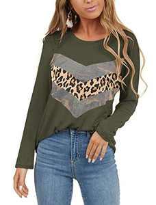 Limerose Women's Casual Leopard Print Tops Crew Neck Camo Print Tunics Cute Long Sleeve T-Shirts Green