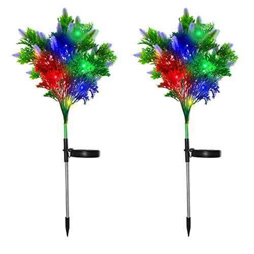 Solar Garden Lights Tree Outdoor 2PCS, Solar Christmas Lights Outdoor Waterproof, LED Solar Powered Christmas Lights for Garden Patio Pathway Yard Decor Outdoor Christmas Decorations Lights (Purple)