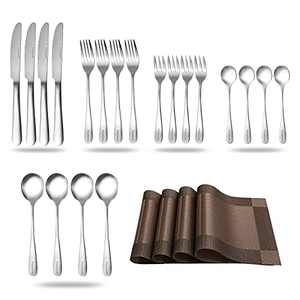 Zoymensu 24 Piece Silverware Flatware Cutlery Set,Include Knife Fork Spoon, Dishwasher Safe