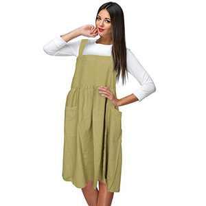 Cross Back Apron with Pockets, Cotton Linen Apron