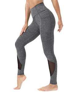 Kipro Women Yoga Pants Mesh Workout Running Leggings Tights Heather Grey