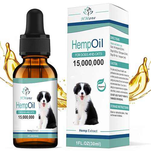 HMone - Max Potency Organic Hemp Oil for Dogs and Cats 15,000,000 - Organically Grown in USA - Pet Hemp Oil Drops for Hip & Joint Health - Rich in Omega 3-6-9