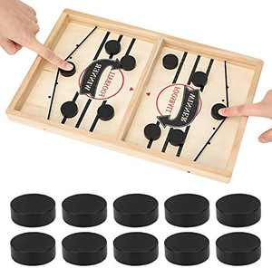 Fast Sling Puck Game,Wooden Hockey Game, Crazy Patata Wooden Hockey Game,Pressl Puck Game,Paced Table Desktop Battle,Family Interactive Chess Toy,Board Table Game