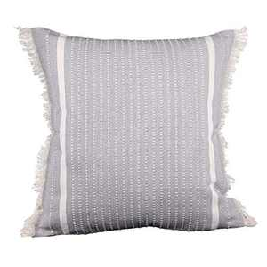 cygnus Farmhouse Decorative Woven Throw Pillow Covers Modern Accent Linear Striped Boho Decor Cute Tassel Cushion Cover for Couch Sofa Bedroom Living Room 18x18 Inch,Gray
