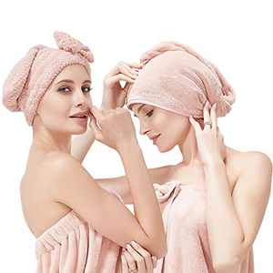 Microfiber Hair Towel, 2 Pack Soft Hair Drying Towels with Button, Fast Drying Turbans for Women Curly and Thick Hair, Hair Towel for Home Shower