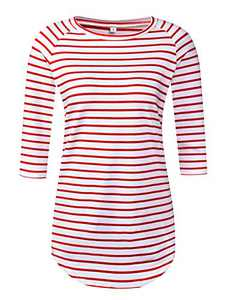 LilyCoco Women's 3/4 Sleeve Striped T Shirt Tunic Tops for Leggings Slim Fit Tee Blouses (Medium, Red White)