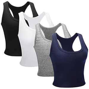 Hollhoff 4 Pieces Crop Tank Tops for Women Basic Sleeveless Racerback Top Vest for Sports Sleeping Yoga and Daily Wearing