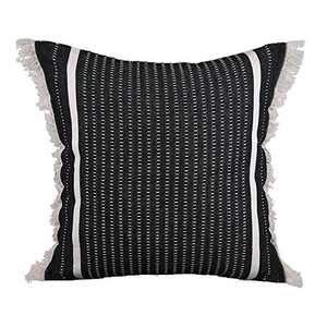 cygnus Farmhouse Decorative Woven Throw Pillow Covers Modern Accent Linear Striped Boho Decor Cute Tassel Cushion Cover for Couch Sofa Bedroom Living Room 18x18 Inch,Black