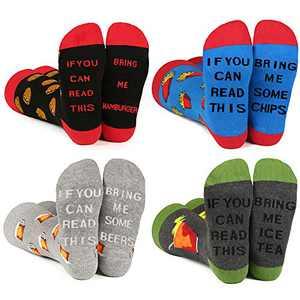 Funny Socks for Men & Women ,Fun Socks ,Crazy Colorful Cool Novelty Cute Dress Socks (F-Hamburger-4)