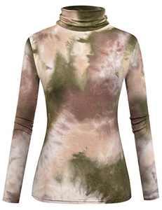Herou Women's Long Sleeve Soft Lightweight Pullover Turtleneck Tops (Coffee Green-Tie Dye, Medium)