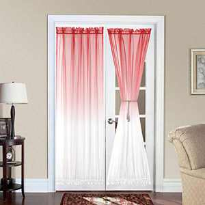 Bermino Ombre French Door Curtains, Faux Linen Voile Rod Pocket Semi Sidelight Curtain for Living Room Patio Sliding Glass Door Window Set of 2 Panels 40 x 72 inch Coral Gradient