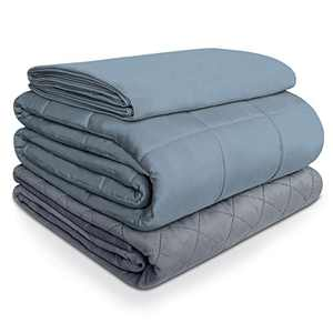 """ACOMOPACK Weighted Blanket Adults with 2 Duvet Covers(3 Pieces,20lbs 60""""×80"""",Gray) Cooling Fiber and Warm Minky Duvet Cover Set,Fits Queen/King Size Bed"""