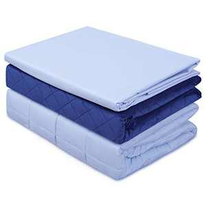 """ACOMOPACK Weighted Blanket Kids with 2 Duvet Covers(3 Pieces,7lbs 41""""×60"""",Blue) Cooling Fiber and Warm Minky Duvet Cover Set,Fits Twin Size Bed"""