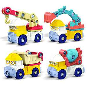 4 Pack Take Apart Truck: DIY Engineering Building PlaySet as Crane Excavator Cement Truck Dump Truck | STEM Education Learning Toys for Age 3 4 5 6 Year Old Boys Girls | Xmas Gift for Kids Toddlers