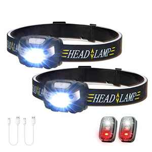 2 Pack LED Rechargeable Headlamp, Lightweight Motion Sensor Switch Head Lamp with 2 LED Safety Light, High Lumen 4 Modes IPX4 Waterproof Headlamps for Camping, Running, Hiking (Battery Include)