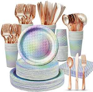 Mermaid Party Supplies - 350PCS/Serves 50 Party Decorations Plates Disposable Dinnerware Set, Paper Plates Cups Napkins, Rose Gold Plastic Cutlery Set for Girl Birthday Valentines Day Easter Party